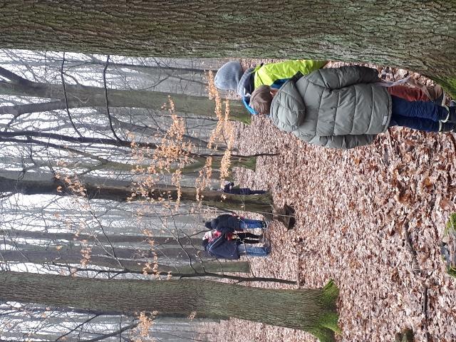 uczniowie na wycieczce w lesie Łagiewnickim
