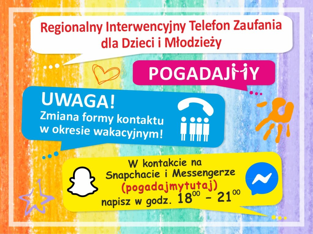 Plakat informujący o kontakcie z regionalnym interwencyjnym telefonem zaufania